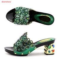 Doershow Latest Design African Women Slippers Summer High Heels High Quality African Sandals Heels Pumps GREEN