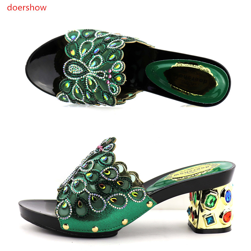 купить doershow Latest Design African Women Slippers Summer High Heels High Quality African Sandals Heels Pumps GREEN Color  KGB1-21 дешево