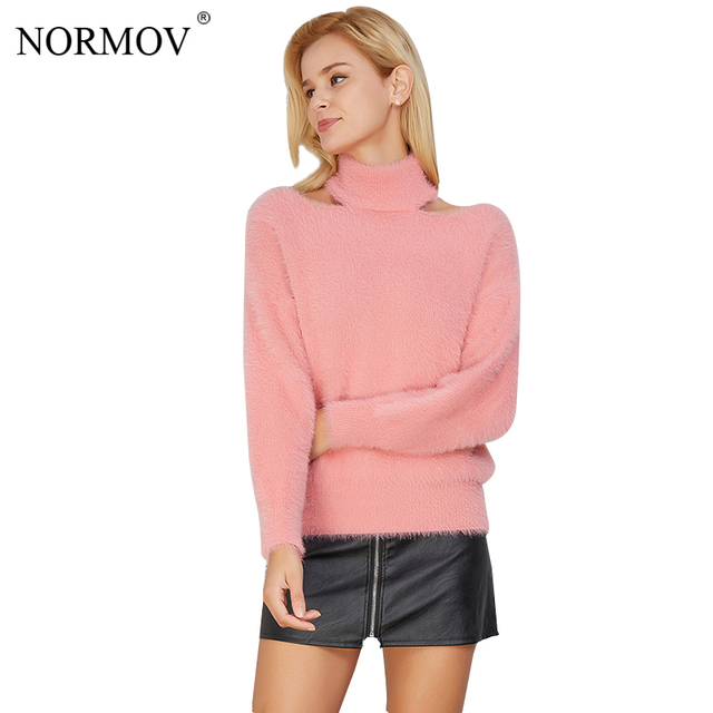 57202129bed6d9 NORMOV Winter Turtleneck Sweater Female Clothing Korean Style Women  Pullover Long Sleeve Top Femme Knitting Off Shoulder Sweater