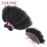 Yvonne афро вьющиеся Реми пучки волос плетение с фронтальной натуральный Цвет 3 Связки с 13*4 кружева фронтальной