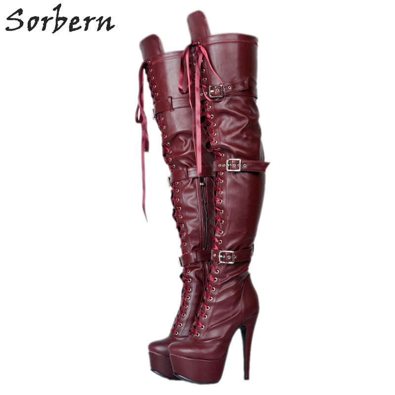 Sorbern Fashion Over The Knee Boots For Women Wine Red Platform Shoes Straps Buckles Super High Heels Booties Womens Shoes 2018Sorbern Fashion Over The Knee Boots For Women Wine Red Platform Shoes Straps Buckles Super High Heels Booties Womens Shoes 2018