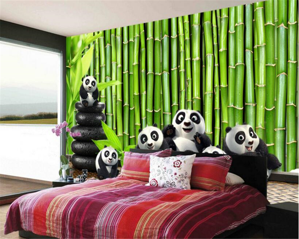 US $8 1 OFF Beibehang 2017 Baru Segar Dan Segar Fashion Wallpaper Hijau Yang Indah Bambu Kecil Yang Lucu Panda TV Latar Belakang Dinding Papel De