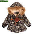 LittleSpring children's leopard printing outerwear long sleeve hooded coat winter kids clothes children winter outwear