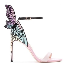3D butterfly wing sandals sexy open toe ankle strap stiletto thin heel shoes female pom pom summer party wedding sandals ankle strap slide sandals with pom pom