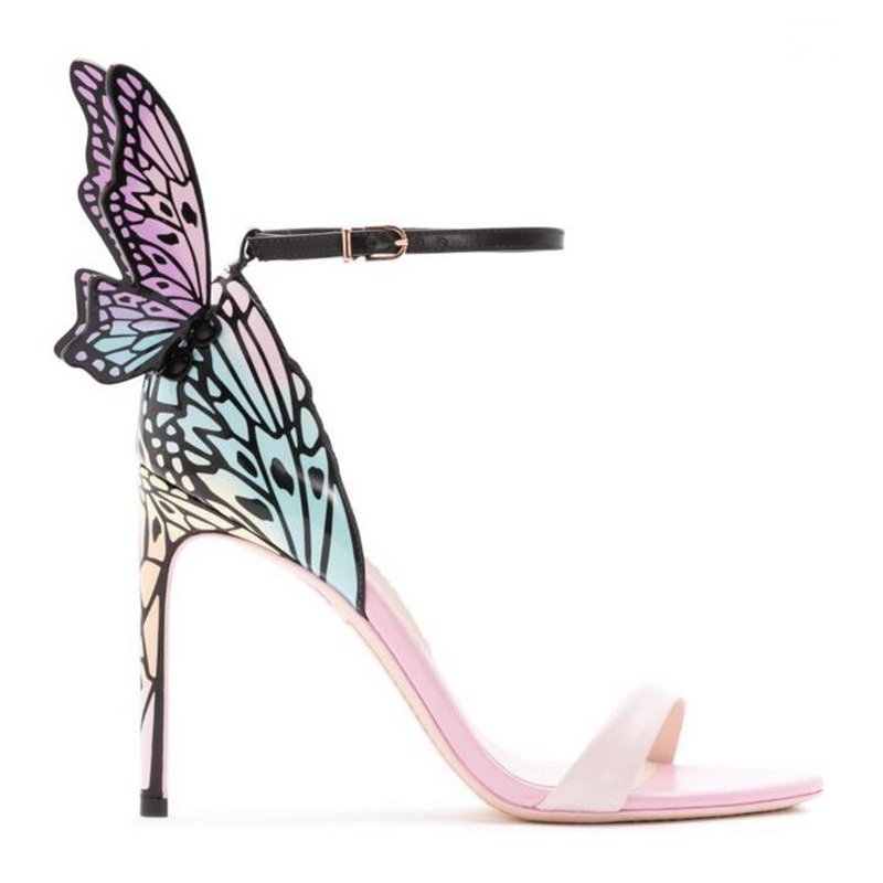 New 3D butterfly wing sandals sexy open toe ankle strap stiletto thin heel shoes female pom pom summer party wedding sandals pom pom detail tie leg flat sandals