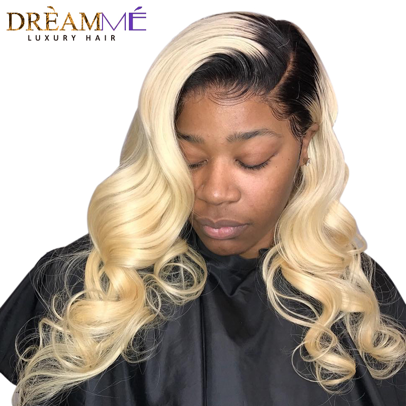 1B 613 Blonde Lace Front Human Hair Wig Pre Plucked Remy Brazilian Body Wave Frontal Hair