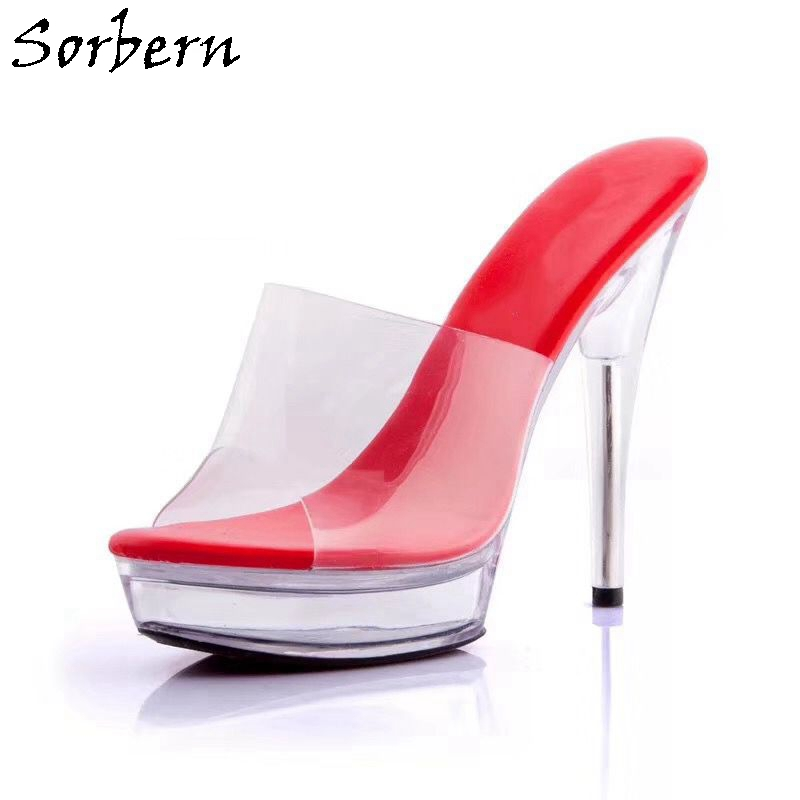 Sorbern Women Summer Slippers Outside Slides Plus Size Night Club Clear 13CM Heels Ladies Party Slippers New Hot Arrive Sorbern Women Summer Slippers Outside Slides Plus Size Night Club Clear 13CM Heels Ladies Party Slippers New Hot Arrive