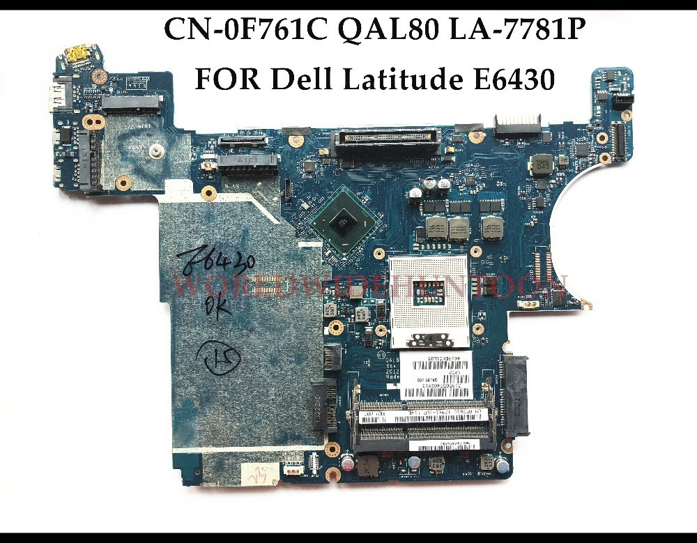High quality CN-0F761C For Dell Insprion E6430 Laptop Motherboard F761C QAL80 LA-7781P SLJ8A HM77 PGA989 DDR3 100% Fully Tested original laptop motherboard for hp probook 4520s 4720s 598667 001 48 4gk06 011 hm57 socket pga989 ddr3 fully tested