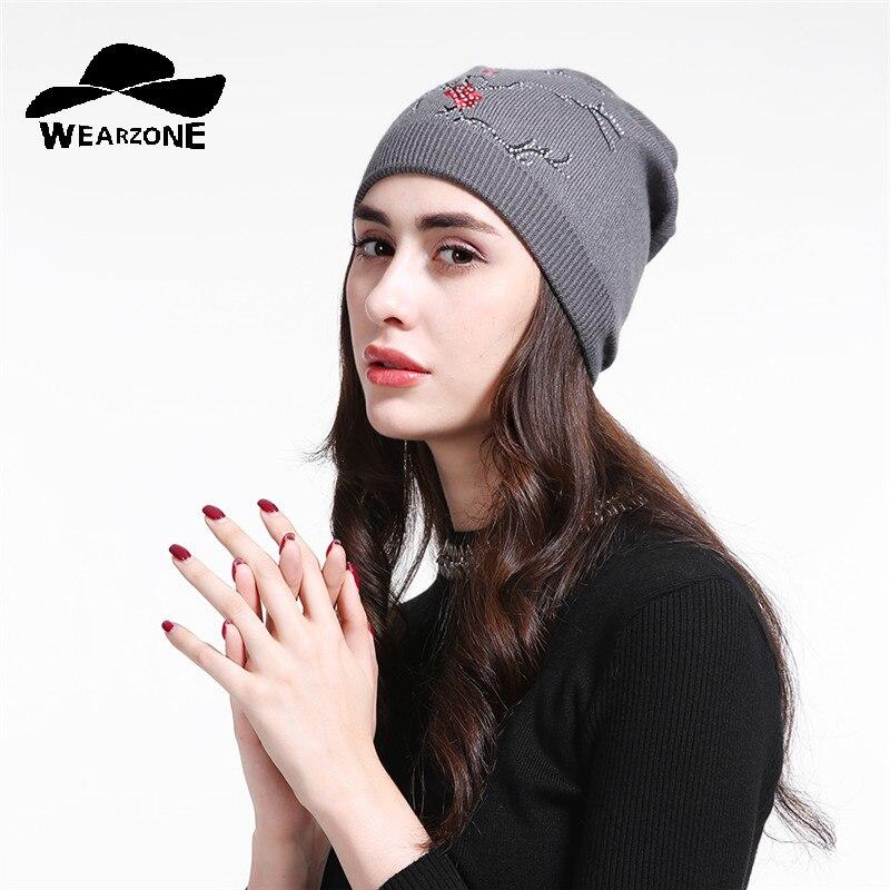 Warm Female Winter Beanie Hats Knitted Caps Women Flashing Rhinestone Bonnet For Girl Skullies Hat Touca Feminina Inverno