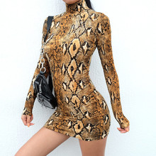 FeiTong Elegant snake print women dress summer Club party long sleeve turtleneck short dress Vintage sexy ladies dresses festa