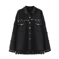 Punk Rivet Black Denim Jacket Coat Midi Shirt