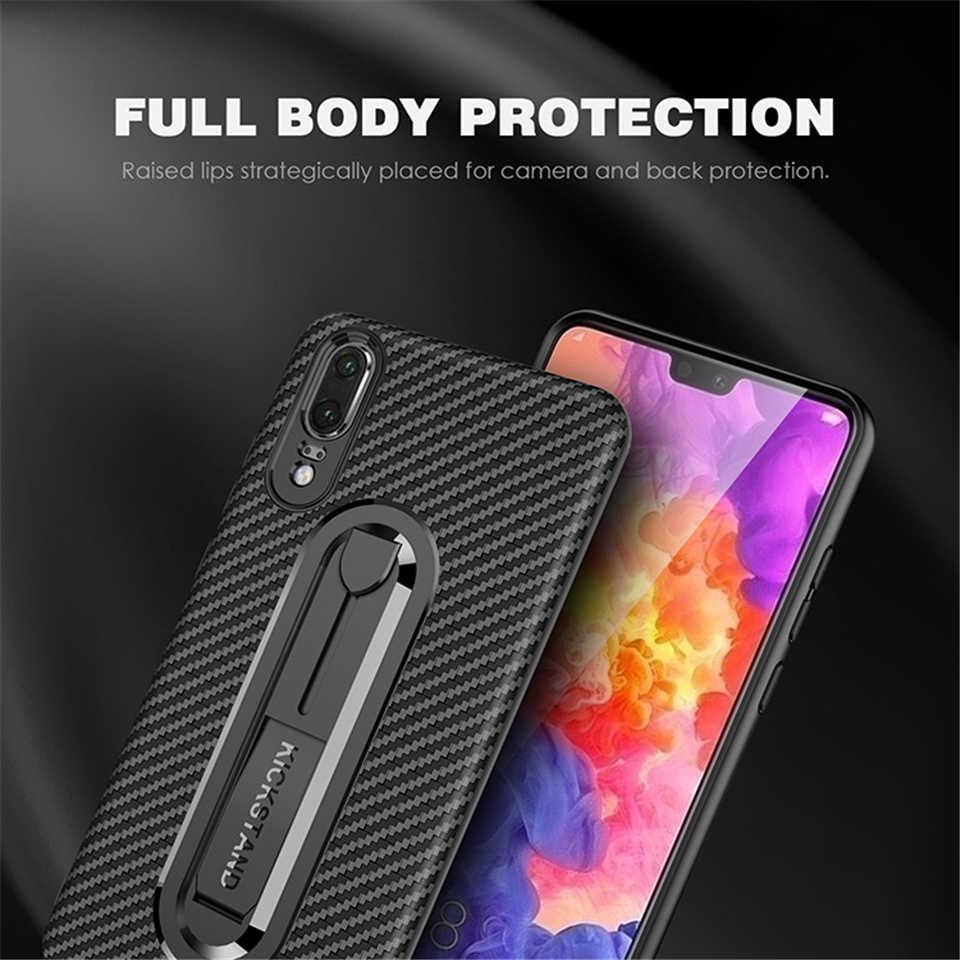 Armor TPU Case For Huawei P20 Pro Mate 10 Lite Mate 20 X Honor 7A 7C Y6 Y7 2018 P Smart Cover Carbon fiber Soft Phone Cases