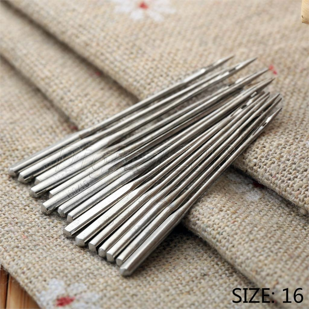 10Pcs Silver Metal Size 100/16 Home Sewing Machine Threading Needles Fit Slightly Thicker Cloth Needles Accessaries Craft Tools