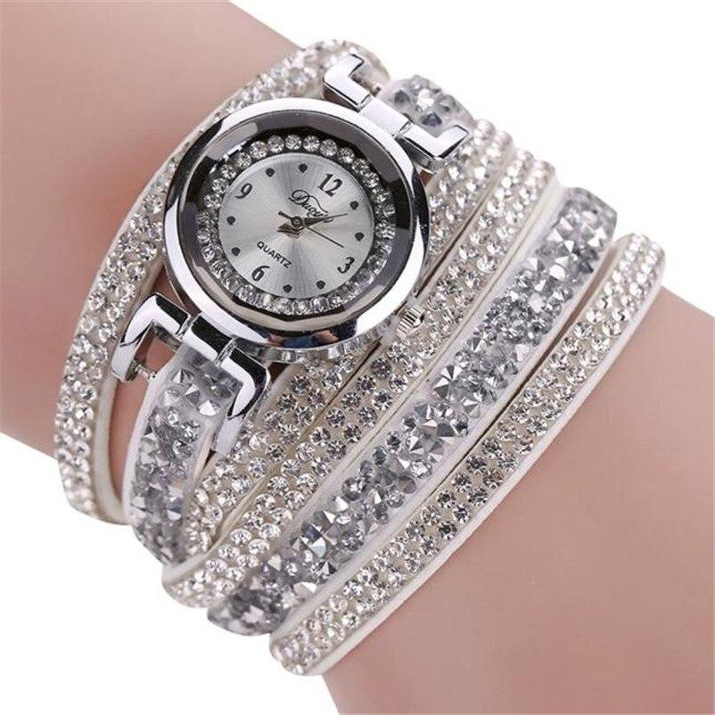 100% QualitäT Mode Frauen Armband Uhr Kristall Stein Quarz Armbanduhr Damen Leder Trendy Sport Uhren Dropshiping GroßE Sorten