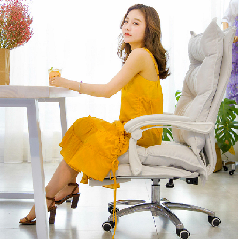 Cloth Surface Office Chair Lifted Household Rotated Computer Chair Multi-function Reclining Double Layer Chair With Footrest