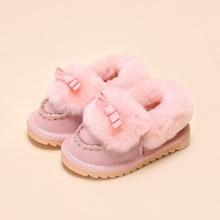 2016 Зима новый детей снега сапоги лук-узел дети кожаные сапоги теплые ботинки с мехом принцесса новорожденных девочек зима обувь