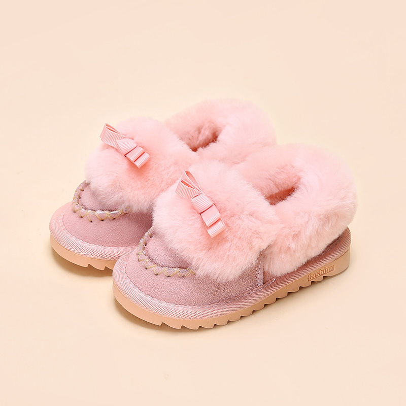2016 Winter new children snow boots bow-knot kids leather boots warm shoes with fur princess baby girls winter shoes