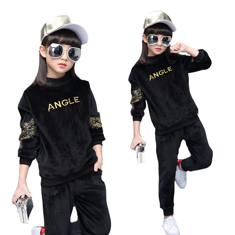 Children Clothing Sets For Girls Long Sleeve Pleuche Sports Suits Embroidered Eagle Girls Outfits Spring Autumn Kids Sportswear kids clothes boys sets long sleeve autumn outfits 2017 tracksuit spring hooded fashion children clothing sports suits for boy