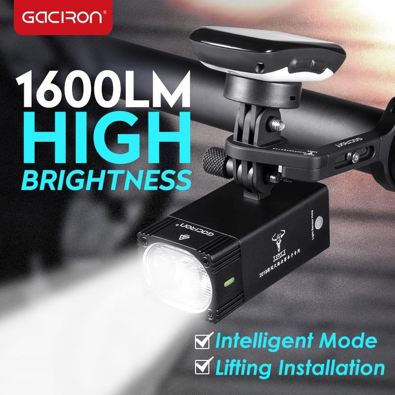 GACIRON 1000 1600 Lumen Bike Light Bicycle Headlight With Mount Holder Waterproof Rechargeable Bike Flashlight Race