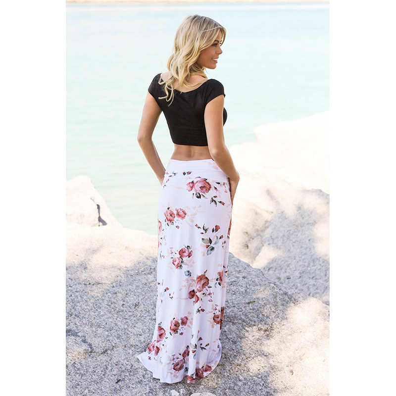 30672c0741c8a5 ... Casual Bohemia floral print skirt Vintage floral long skirts women  beach Summer elegant beach maxi skirt