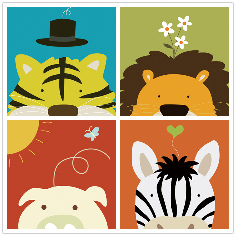 Free Shipping Modern Cartoon Animal Head Set Oil Painting Canvas Painting Prints On Canvas Kids Room