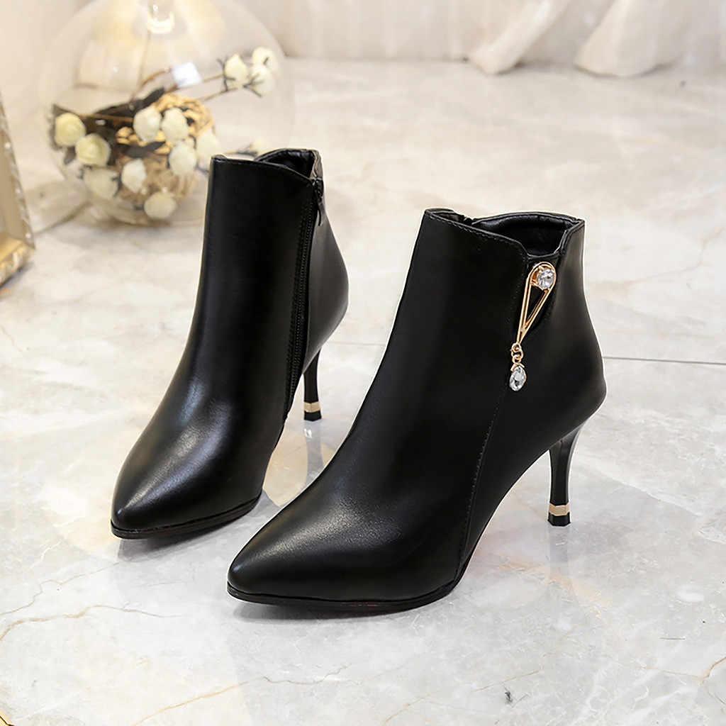 2019 primavera otoño nueva moda mujer cremallera Soild punta puntiaguda zapatos de tacón fino suave ocio cómodo botas de fiesta mujeres