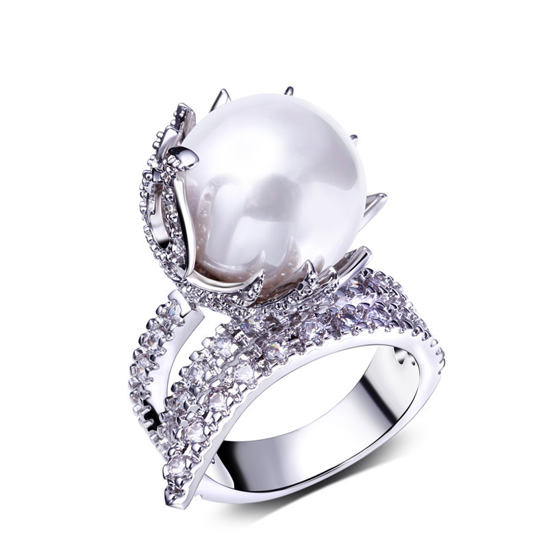 Luxury Wedding Anniversary Gifts: Unique Pearl Ring Beautiful Design Luxury Wedding