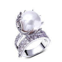 Unique Pearl Ring Beautiful design Luxury Wedding Anniversary Gift Party Bijoux Hot Sell Passionate Synthetic Anel de perola