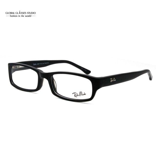 3647425cc1 Classic Brand Eyeglass High Quality Men Acetate Eyewear Metal Brand Logo  Single Frame Black Color No Prescription Lens RM5114-C1