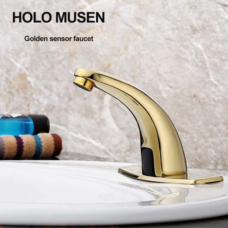 купить Brass Classic Touch Free Water Saving Hygeian Infrared Sensor Faucet Cold Water Glod Faucet Sensor For Bathroom Basin по цене 4950.22 рублей