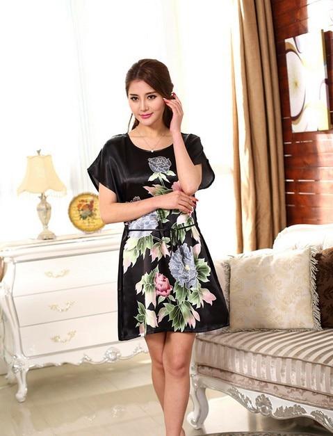 8659449b30 Black peony Short Sleeve Floral Sexy Plus Size Women Silk Robe Lady Girl  Silk Pajamas Housecoat