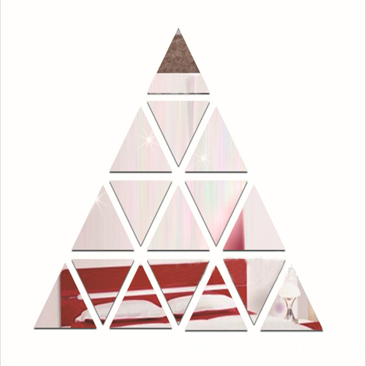 Romantic Triangle DIY Removable Vinyl Mirror Wall Stickers Decal Mural Home Office Bedroom Kids Room Dormitory Decor Wall Paper