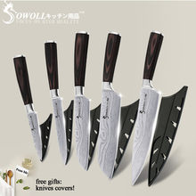 5PCS Kitchen Knife Set Stainless Steel Knife Damascus Laser Chef Knife Sets Santoku Utility Paring Cutting Cooking Kitchen Tools(China)