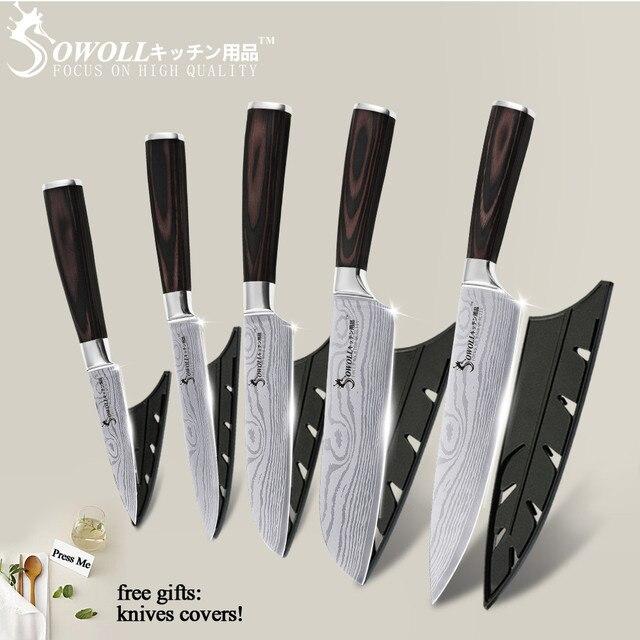 5PCS Kitchen Knife Set Stainless Steel Knife Damascus Laser Chef Knife Sets Santoku Utility Paring Cutting Cooking Kitchen Tools