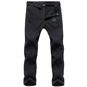 Image 5 - חורף מכנסיים גברים להאריך ימים יותר צמר מעטפת רכה תרמית מכנסיים Mens מזדמן סתיו עבה למתוח עמיד למים צבאי טקטי מכנסיים