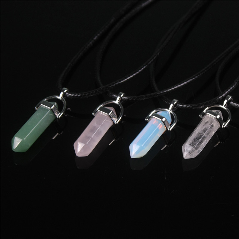 Women's Opal Natural Stone Quartz Pendant Necklace Pink Quartz White Crystal Necklaces Gem Stone Statement Pendant Necklace