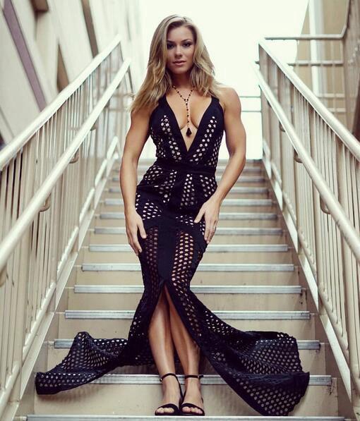 2018 Haute Qualité robes sexy dos nu femmes profonde v cou noir Bandage Robe de célébrité Longue de bal Robes de Soirée robe de soirée