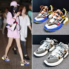 Liren 2019 Summer New Fashion Casual Women Sneakers Shoes Mixed Colors Breathable Lace-up Flat Heels Sport