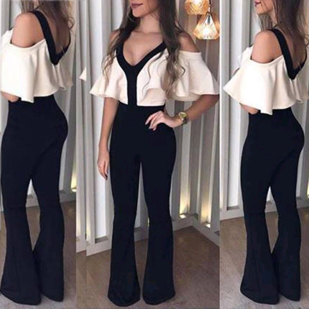 Women V-neck Clubwear Playsuit Sexy Bodycon Party   Jumpsuit   Romper Trousers S-XL