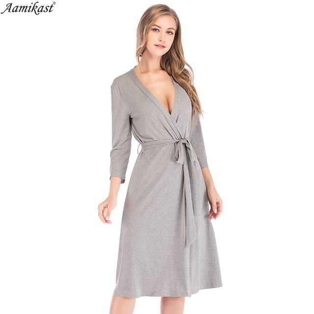 63b7c206a68b9 Aamikast Autumn Winter Womens Modal Maternity Pregnancy Labor Robe Delivery  Nursing Nightgowns Hospital Breastfeeding Gown S-XXL