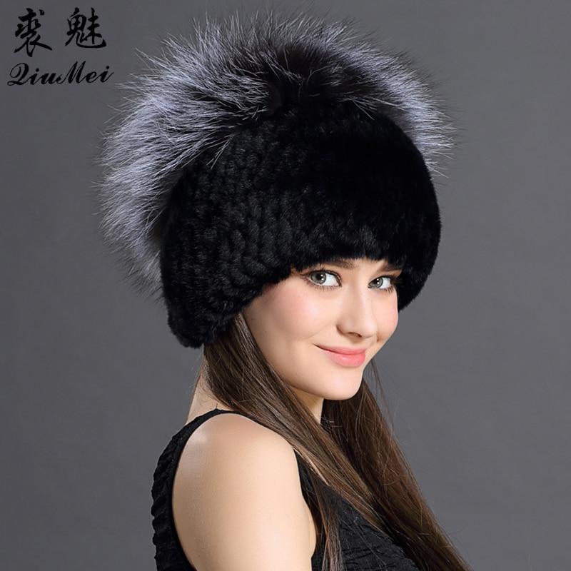 Hot Winter Hats Female Russian Rex Rabbit Fur With Fox Fur Top Head Warmed Free Size Fashion Caps Women Knitted Hats 2016