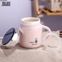 JOUDOO Cartoon Ceramic Coffee Mug 400ML Cute Water Bottle Lady Girl Office Home Student Tea Drinkware Cup With Lid As Mirror 35