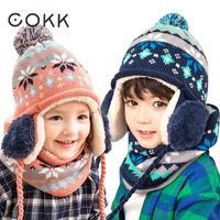 COKK Kids Winter Hat Scarf Set Knitted Hats For Children Girls Boy Two Piece Pompom Hat