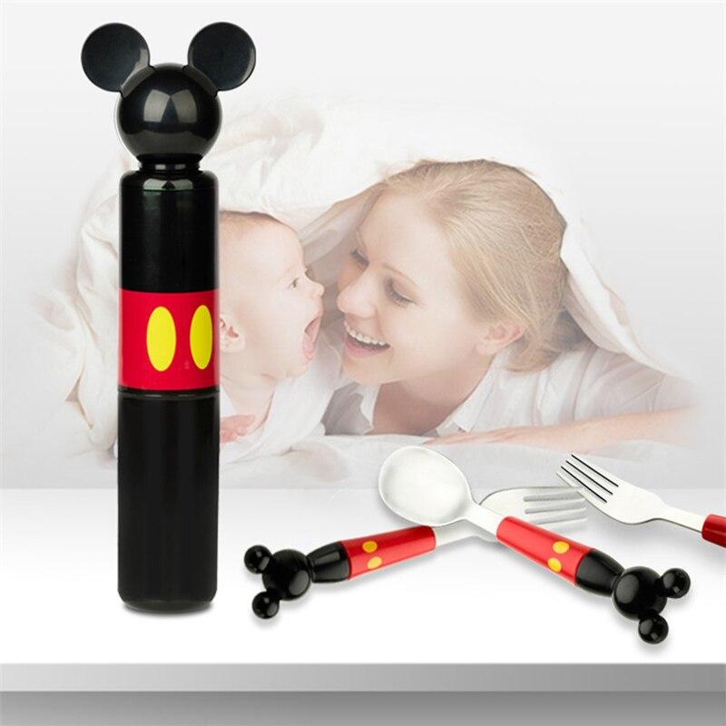 Baby Dishes Stainless Steel Spoon Fork Portable Box Set Cartoon Infant Feeding Training Children Lunch Food Dinnerware MBG0373