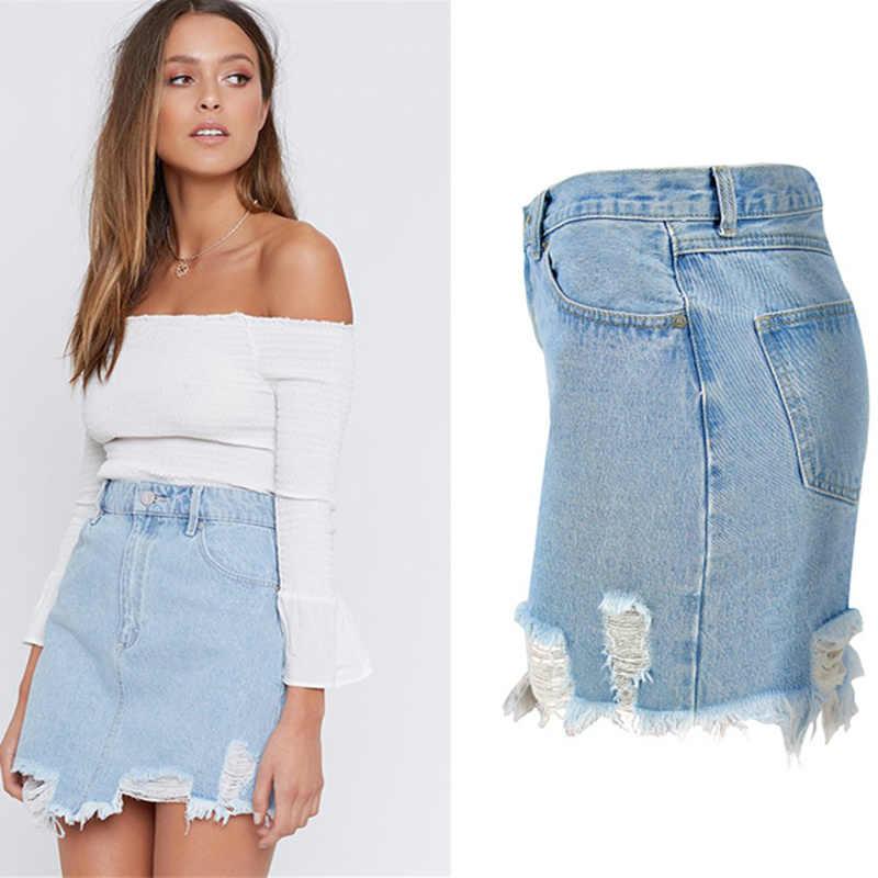 432a58ded9666 ... LOGAMI High Waist Pencil Jeans Skirt Woman Spring Summer Ripped Denim  Skirts Womens Sexy Mini Skirt ...