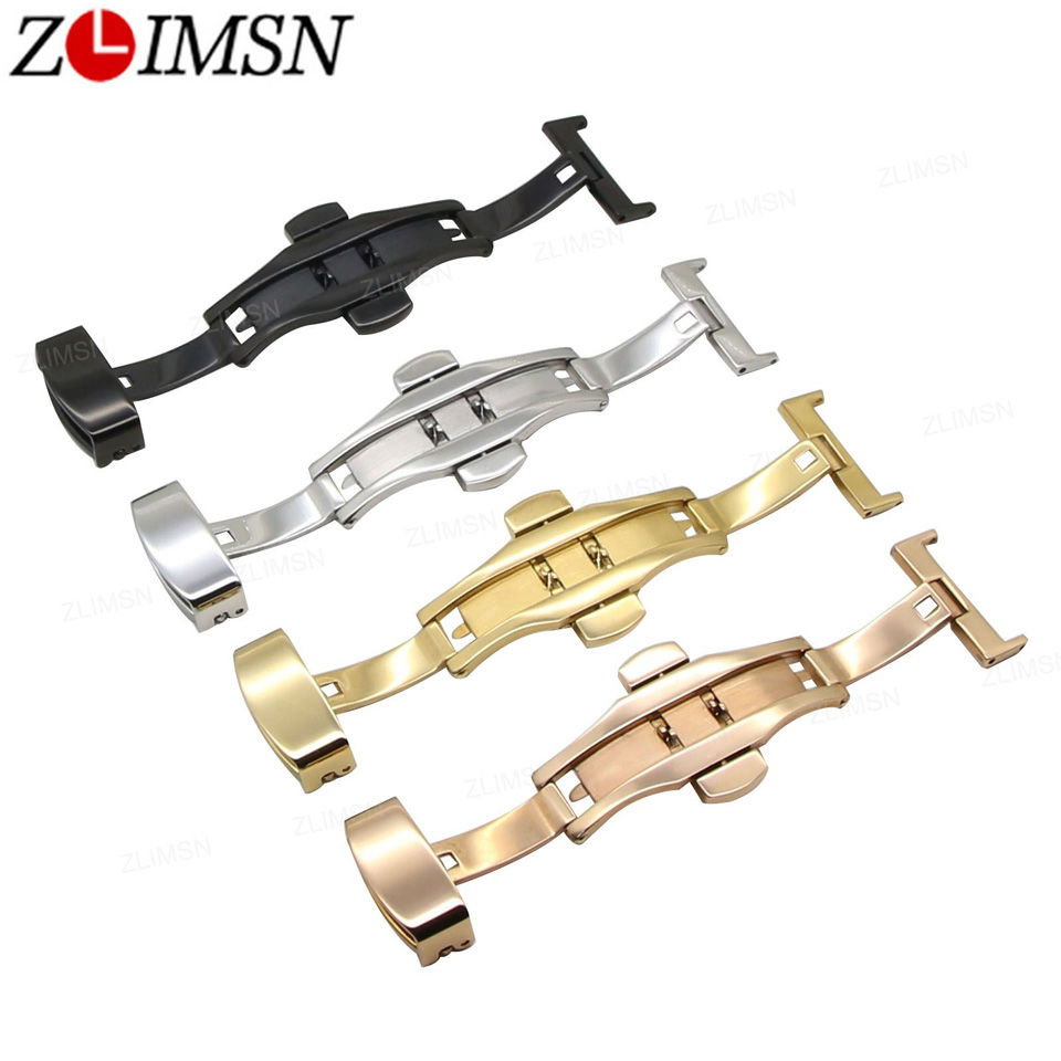 ZLIMSN 316L Solid Double Push Button Fold Watch Buckle Butterfly Deployment Clasp Silver Gold Replacement 12 14 16 18 20 22 24mm tearoke butterfly deployment watch band double push button fold strap buckle clasp 16 18 20 22 24mm gold rose gold silver