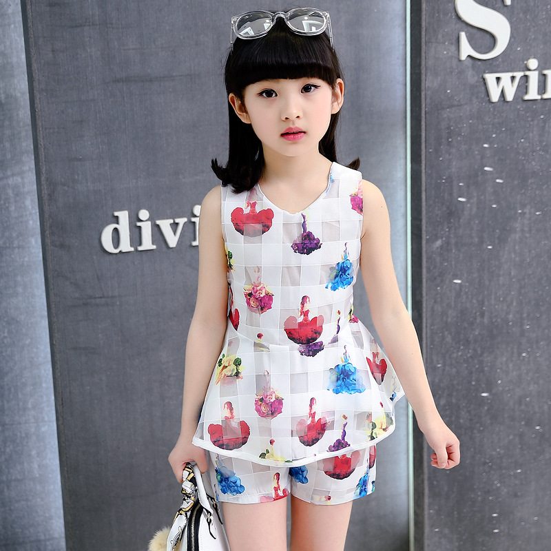 2018 summer big girls dress girl clothing set kids sleeveless two piece set princess dress 5 6 7 8 9 10 11 12 13 14 years in Clothing Sets from Mother Kids