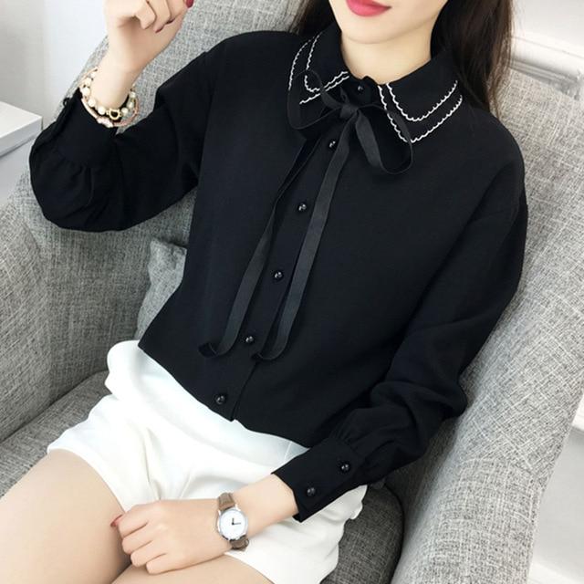 2017 New Style Lady White Shirts Formal Chiffon Blouse Work Blouse Korean Women Clothing Work Wear Office Ladies OL Tops Shirts