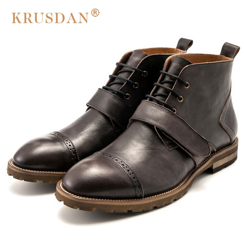 KRUSDAN British Style Brand Man Handmad Semi Brogue Shoes Genuine Leather Round Toe Lace-up Men's Cowboy Martin Ankle Boots купить
