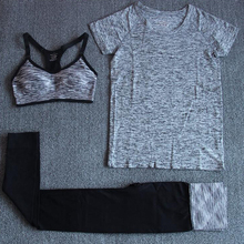 Outdoor Women Yoga Suit 3PCS Sexy Sports bra+Stretch Shirts+Patchwork Fitness Pants Professional Gym Clothes Tracksuit For Women